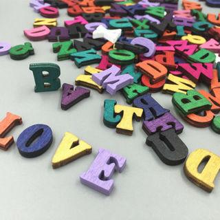 100Pcs Embellishments Letters Wooden Alphabet Scrapbooking Card