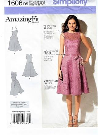 Simplicity Pattern #1606 Misses' & Miss Petite Amazing Fit Dress Misses Sz 4-12