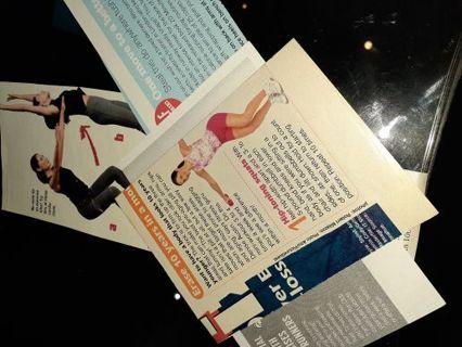 Magazine Articles- cutouts- Workouts- 4 piece lot