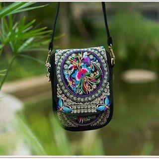Multicolor - Mobile Purse Cover Canvas Shoulder Small Boho Ethnic Embroidery Bag Vintage