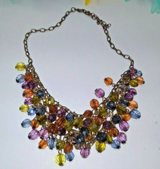 Colorful Multi Faceted Necklace Beaded Choker **pretty**