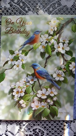 Bird & Flowers Birthday card