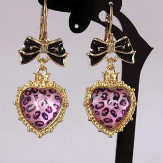 Betsey Johnson Leopard Heart XOX Dangle Earrings NEW
