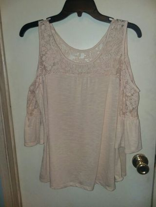 85b312f49c7 FREE: Women's size large rue 21 brand tan lacey off shoulder shirt top