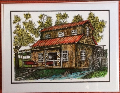 """OLD WATERMILL - 5 x 7"""" art card by artist Nina Struthers - GIN ONLY"""