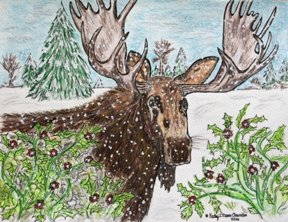 Bull Moose in the Wilderness Watercolor Print 9 X 12