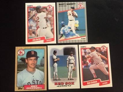 5 RED SOX E. BURKE, M. BARRETT, M. GREENWELL, RED SOX LEADERS & R. GEDMAN TRADING CARDS