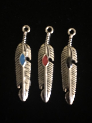 3 Antiquated Silver Feathers with a spot of red