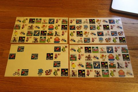 110 Independence Day Stickers 1999 Highlights Unused Stickers USA July 4th -----