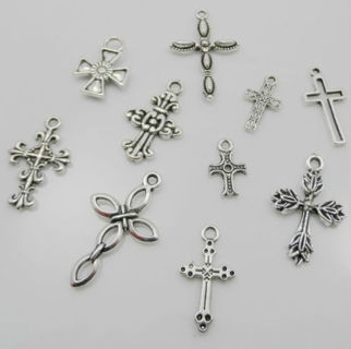 20PCS Mixed Tibetan Silver Cross Charms Pendant For Jewelry Making