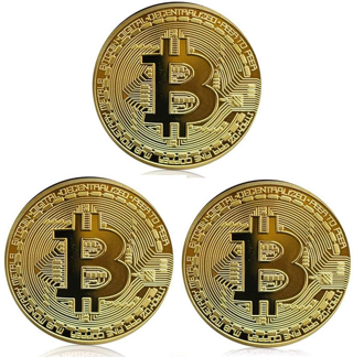 BTC Coin 3-Pack Gold Bitcoin Coin Gold Plated Commemorative Souvenir Gifts FREE SHIPPING