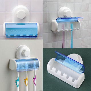 5 Hooks Suction Cup Wall Mount Bathroom Toothbrush SpinBrush Rack Stand Holder