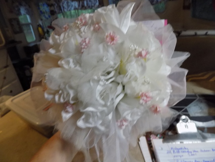 Silk Flower white roses accented in pink silk flower and pearls bridal bouqet