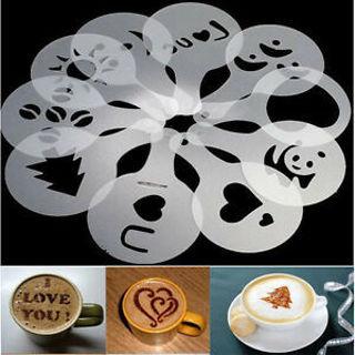 Elegant 16Pcs Creative Coffee Machine Print Template Strew Pad Duster Spray Art