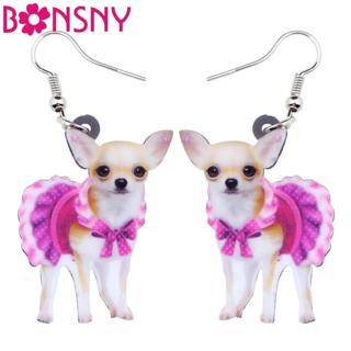 Bonsny Acrylic Pink Dress Chihuahua Dog Earrings Big Long Dangle Drop Animal Jewelry For Girls Wom