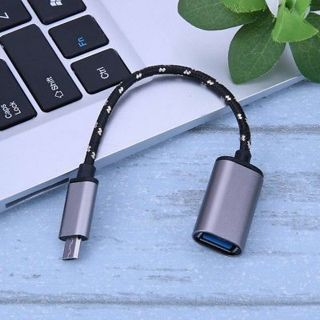 Aluminum Alloy Braided Micro USB Male to USB Female OTG Adapter Cable Cord Gold