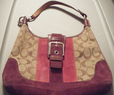 Signature Coach Fabric With Pink Mauve Suede