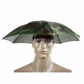 Hiking Camping Elastic Headband Hat Cap Nylon Umbrella Sun Rain Umbrella