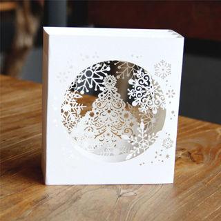 Handmade 3D Pop Up Tree Box Snowflake Greeting Holiday Card Merry Christmas Gift