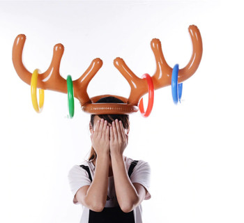 Inflatable Reindeer Christmas Gifts Hat Antler Ring Toss Holiday Party Game Toys Gifts juguete Z*