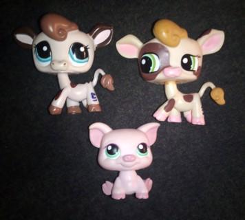 3 Hasbro Littlest Pet Shop Pets Cows & Piggie