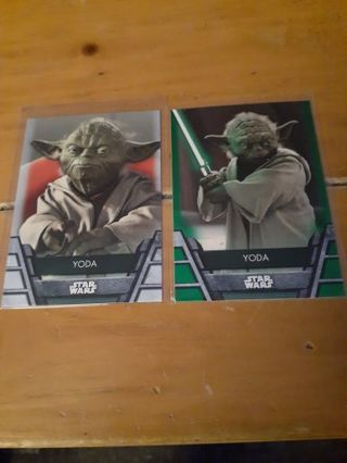 You are bidding on a 2020 Topps Star Wars Yoda 2 card lot w/ green insert.