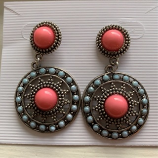 Boho Earrings Silver Tone Pink and Blue NEW