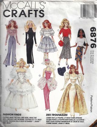Free Mccalls 6876 Barbie Clothes 115 Doll Clothes Dress Evening