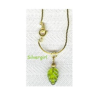 """Green Leaf Charm 16"""" Gold Plate Chain Necklace"""