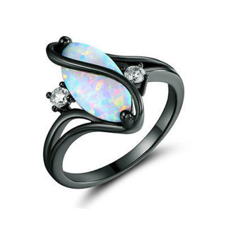 ***dropped price 500 XKK***3.6ct white fire opal 925 silver  black gold filled women's ring