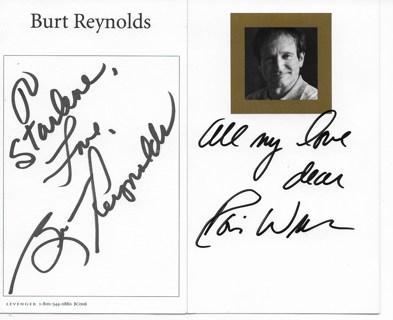 ROBIN WILLIAMS/BURT REYNOLDS 3X5 INDEX CARDS TTM NO COA'S AUTOGRAPHS??