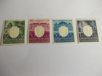 SET OF 4 NAZI GERMANY OCCUPIED POLAND 3rd ANN. - EMBOSSED CENTER - #NB28, 30-32 - MLH OG
