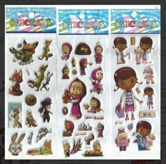 Zootopia Doc McStuffins Masha & The Bear Variety Pack NEW JAPANESE BUBBLE Stickers FREE SHIPPING
