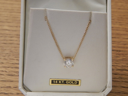 "REAL14KT YELLOW GOLD  1.5CT  NATURAL DIAMOND PENDANT AND 16"" 14KT CHAIN"