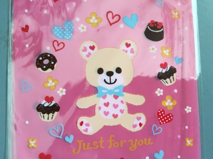 """☆ 4 Kawaii Sweets Bear Large Pink Open Top Clear Gift Bags from Japan ☆ 4.5"""" x 7.2"""""""
