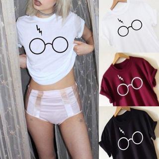 Women's Casual T-Shirt Harry Potter Glasses Print Short Sleeve Basic Tee Tops