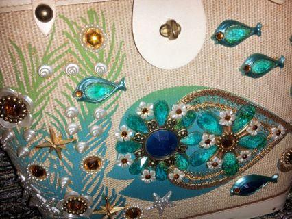 Free Vintage 60 S Enid Collins Jeweled Handbag Sea Garden Rare Purse