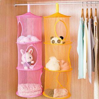 3 Shelf Hanging Storage Net Organizer Bag Bedroom Door Wall Closet Organizers