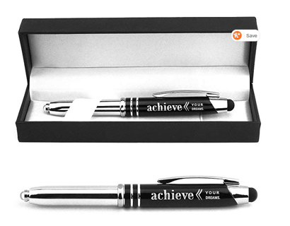 "Graduation Gift! ""Achieve Your Dreams"" Engraved Gift Pen with LED Light and Stylus Tip"