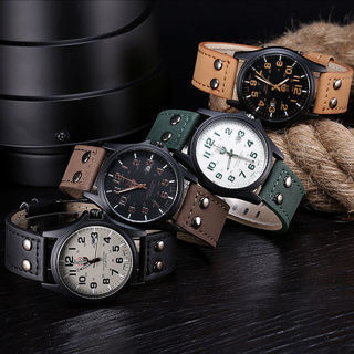 [GIN FOR FREE SHIPPING] Mens DAILY Waterproof Date Leather Strap Sport Quartz Army Watch
