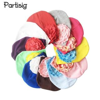 Partisig Brand Baby Girls Hat Cotton Knit Floral Beanie For Girls Spring Autumn Caps With Big Flow