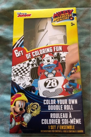 BNIP Disney Jr's, Mickey Mouse ROADSTER: 6ft Of Coloring Paper & 6 Crayons!