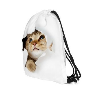 Drawstring bag with 3D cat shape - fashion travel bag for women