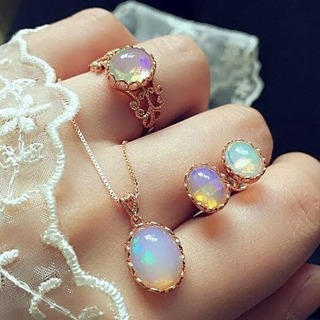 Vintage Opal Jewelry Sets For Woman Pendant Necklaces Choker Water Drop Earrings & Ring Gold Color