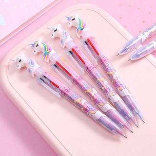 3Pcs Cartoon Unicorn 6 in 1 Ballpoint Pen Ball Point Pens Kids School Office Supply