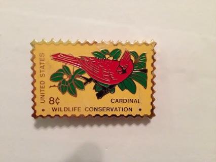 Wildlive Conservation Cardinal 8 cent 1972 Vintage Postage Stamp Pin