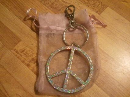 ~**~Glitterized Peace Sign Keychain~**~