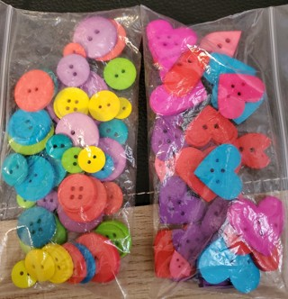 Lot of 77 - Multi-Colored Heart & Round Buttons