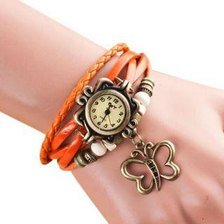 Women Quartz Weave Around PU Leather Wrist Watches Butterfly Bracelet Lady