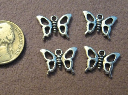 4 Silver Pewter Butterfly Charms ~Gin only